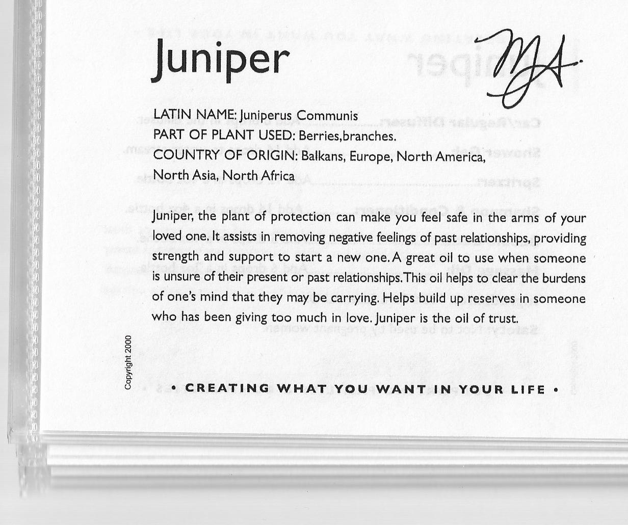Weekly Aroma Card – Juniper
